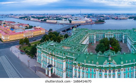 Saint Petersburg. Russia. Hermitage. Zinia Palace view from above. Panorama of St. Petersburg with a quadcopter. View of the Neva. Excursions to the Hermitage. Sights of Petersburg. Tour in Russia