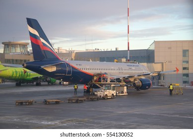 SAINT PETERSBURG, RUSSIA - JANUARY 07, 2017: Airbus A320-214 (VP-BKY) Aeroflot - Russian airlines in Pulkovo airport