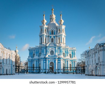 SAINT PETERSBURG, RUSSIA - JANUARY 12 , 2018 : Smolny Cathedral facade at sunset in winter
