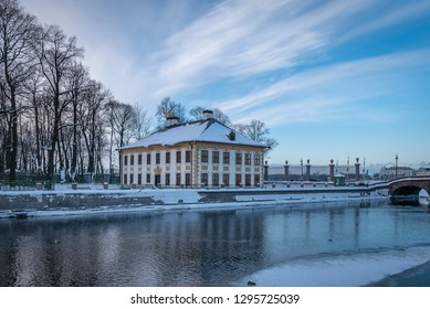 SAINT PETERSBURG, RUSSIA - JANUARY 13 , 2018 : Peter The Great Summer Palace Summer Gardens and partially frozen Fontanka River in winter at sunset