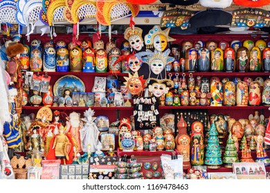Saint Petersburg, Russia - January 15, 2018: Traditional Russian Souvenirs, Matryoshka doll for sale in souvenir store