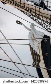 Saint Petersburg, Russia - January 15, 2019: White female figurehead on the sail ship
