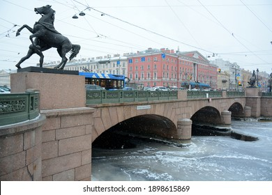 SAINT PETERSBURG, RUSSIA - January 15, 2021: Anichkov Bridge on Nevsky avenue in winter