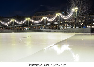 SAINT PETERSBURG, RUSSIA - January 15, 2021: Ice rink at New Holland island decorated for Christmas and New Year holidays