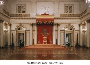 SAINT PETERSBURG, RUSSIA - JANUARY 18 , 2019 : St George's Hall, the principal throne room of Russian Tzars, located in the Hermitage Museum - no person view