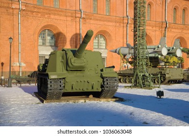 SAINT PETERSBURG, RUSSIA - JANUARY 20, 2017: Heavy self-propelled artillery ISU-152 in the Museum of artillery and signal corps