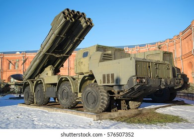 "SAINT PETERSBURG, RUSSIA - JANUARY 20, 2017: Fighting vehicle reactive volley-fire systems 9A52 ""Smerch"" closeup of a Sunny January day"