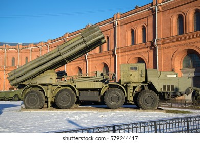 "SAINT PETERSBURG, RUSSIA - JANUARY 20, 2017: Fighting vehicle reactive volley-fire systems 9A52 ""Smerch"" Sunny January day. View profile"