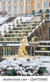 SAINT PETERSBURG, RUSSIA - JANUARY 22, 2018: Peterhof in winter. Statue of Samson, tearing the jaws of lion, against background of the Grand Cascade covered with snow