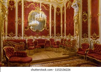 Saint Petersburg, Russia - January 3, 2018: The Boudoir of State Hermitage Museum