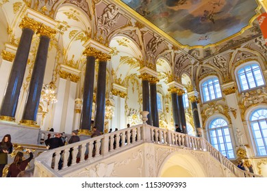Saint Petersburg, Russia - January 3, 2018: Jordan Staircase in Winter Palace, State Hermitage Museum