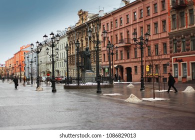 Saint Petersburg, Russia, January 30, 2015 The monument to the great writer Gogol view Nevsky Prospect