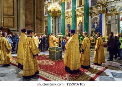 Saint Petersburg, Russia - January 6, 2018: Christmas service at of Saint Isaac's Cathedral or Isaakievskiy Sobor
