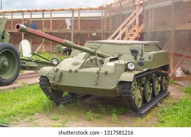 Saint Petersburg, Russia - July 07, 2017: 57 mm light airborne self-propelled gun ASU-57. Museum of artillery, engineering and communications troops. Arsenal.