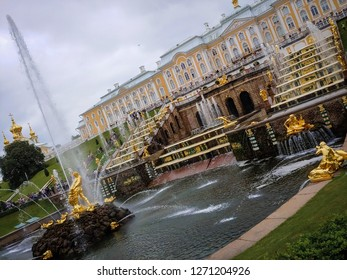 Saint Petersburg, Russia - July, 08, 2018| Peterhof palace in Saint Petersburg, Russia | The Grand Cascade and Samson Fountain | July 2018