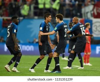 SAINT PETERSBURG, RUSSIA - July 10, 2018:   FIFA 2018 World Cup in the semi finals football match between Belgium and France at Saint Petersburg Stadium.