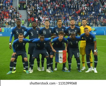 SAINT PETERSBURG, RUSSIA - July 10, 2018: France team posing for a photo during the FIFA 2018 World Cup. France is facing Belgium in the semi finals at Saint Petersburg Stadium.