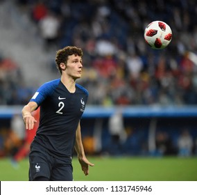 SAINT PETERSBURG, RUSSIA - July 10, 2018: B PAVARD of France kicks the ball during the FIFA 2018 World Cup in the semi finals football match between Belgium and France at Saint Petersburg Stadium.
