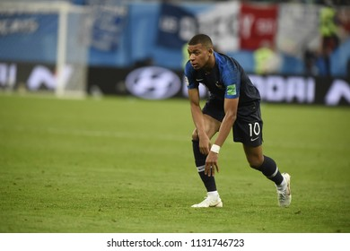 SAINT PETERSBURG, RUSSIA - July 10, 2018: MBAPPE of France kicks the ball during the FIFA 2018 World Cup in the semi finals football match between Belgium and France at Saint Petersburg Stadium.