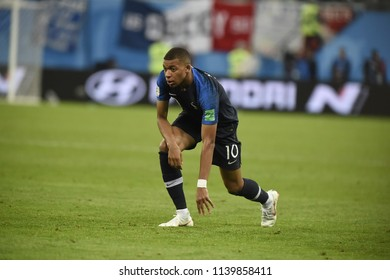SAINT PETERSBURG, RUSSIA - July 10, 2018: MBAPPE of France kicks the ball during the FIFA 2018 World Cup in the semi finals football match between Belgium and France at Saint Petersburg Stadium