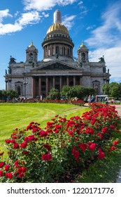 SAINT- PETERSBURG, RUSSIA - JULY 10, 2016: Saint Isaac's Cathedral or Isaakievskiy Sobor in Saint Petersburg, Russia, is the largest Russian Orthodox cathedral in the city