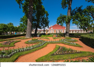 SAINT- PETERSBURG, RUSSIA - JULY 10, 2017: Monplaisir Palace in the Lower Garden of Peterhof, Saint-Petersburg, Russia. The park ensemble of Peterhof belongs to the world heritage of UNESCO