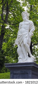 SAINT PETERSBURG, RUSSIA - JULY 10: The statues of Poseidon in Peterhof on July 10, 2013 in St. Petersburg, Russia