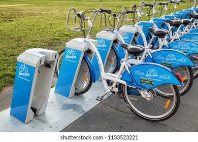 SAINT PETERSBURG, RUSSIA - JULY 11, 2018: Velogorod bike rental station on street in St. Petersburg