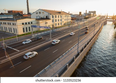 SAINT PETERSBURG, RUSSIA - JULY 11, 2018: new section of the Makarova embankment was opened in May 2018. On banner text in Russian St. Petersburg with love