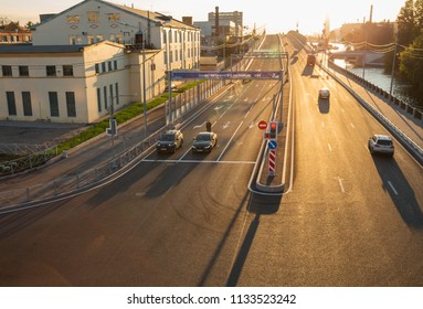 SAINT PETERSBURG, RUSSIA - JULY 11, 2018: new section of the Makarova embankment was opened in May 2018. On the banner the text in Russian St. Petersburg with love