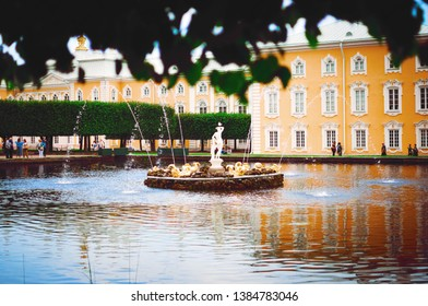 Saint Petersburg, RUSSIA - July 11, 2018: Beautiful lake and fountain in Petergof in St. Petersburg. Excursions for tourists.