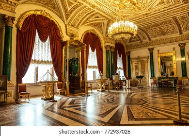 SAINT PETERSBURG, RUSSIA - JULY 11, 2015:St. Petersburg, Malachite drawing room in the Winter Palace, the Hermitage. Russia