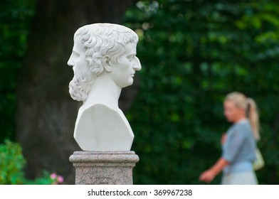 SAINT - PETERSBURG, RUSSIA - JULY 12, 2014: Janus with two Faces in The Summer Garden. The Summer Garden - park ensemble, founded by Peter the Great. Janus is the god in ancient Roman religion