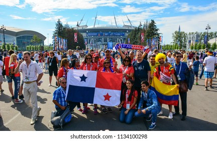 Saint Petersburg / Russia — July 14, 2018: fans and supporters gather at Saint Petersburg Stadium for the 3rd Place Match of FIFA World Cup 2018, where Belgium beat England