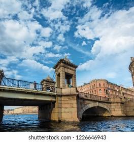SAINT PETERSBURG, RUSSIA - JULY 14, 2016: Lomonosov Bridge across the Fontanka River
