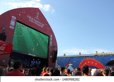 Saint Petersburg, Russia - July 14, 2018: 2018 FIFA World Cup Russia, Saint Petersburg FIFA Fan Fest at Konyushennaya Square
