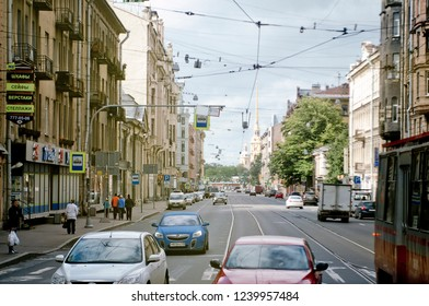 Saint Petersburg / Russia - July 18 2016: Street View with Wires