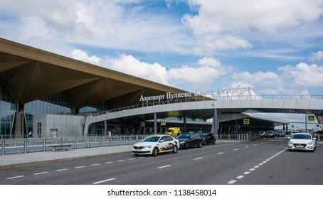Saint Petersburg / Russia — July 20, 2018: the terminal building of Pulkovo International Airport in Saint Petersburg. Pulkovo Airport is the the fourth-busiest in Russia