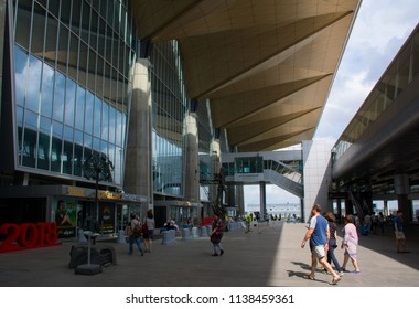 Saint Petersburg / Russia — July 20, 2018: the entrance to the new terminal building of Pulkovo International Airport in Saint Petersburg. Pulkovo Airport is the the fourth-busiest in Russia