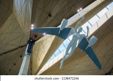 Saint Petersburg / Russia — July 20, 2018: angel sculpture in the new terminal of Pulkovo Airport in Saint Petersburg. Pulkovo Airport serves around 150 destinations, both domestic and international