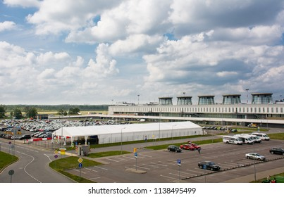 Saint Petersburg / Russia — July 20, 2018: an old terminal building of Pulkovo International Airport, now redeveloped as a boarding area for domestic flights. The new terminal was completed in 2013