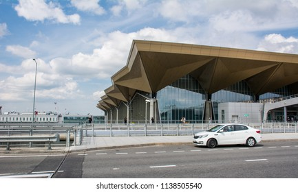 Saint Petersburg / Russia — July 20, 2018: the exterior of the modern terminal building of Pulkovo International Airport in Saint Petersburg. Pulkovo Airport is the the fourth-busiest in Russia