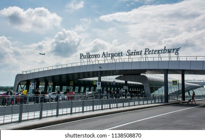 Saint Petersburg / Russia — July 20, 2018: outside the terminal building of Pulkovo International Airport in Saint Petersburg. Pulkovo Airport is the the fourth-busiest in Russia