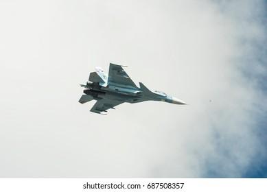 SAINT PETERSBURG, RUSSIA - JULY 23, 2017: Su-33K flies in the sky over St. Petersburg