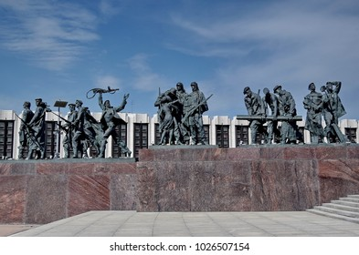 """Saint Petersburg, Russia - July 24, 2017: Monument """"Heroic defenders of Leningrad"""" on Victory Square - a monument to the feat of citizens in the tragic days of the siege of 1941-1944."""