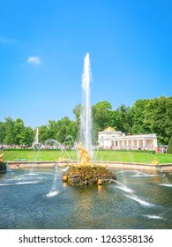 SAINT PETERSBURG, RUSSIA - JULY 28, 2018: Samson and the Lion fountain in Petergof Grand Cascade,  St. Petersburg, Russia