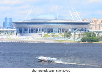SAINT PETERSBURG, RUSSIA - JULY 3, 2017. Krestovsky Stadium. Krestovsky Stadium (Zenit Arena) - a football stadium, which was opened in 2017 for the FIFA Confederations Cup in Saint Petersburg, Russia
