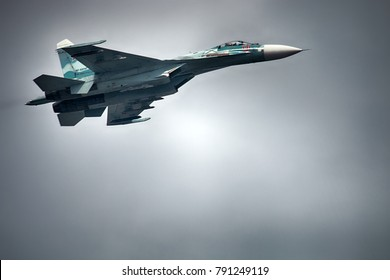 Saint Petersburg, Russia, July 30, 2017: Russian military aircraft Su-33 (NATO codification: Flanker-D) carrier-based fighter of fourth generation