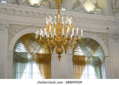 Saint Petersburg, Russia, July 6, 2017: Chandelier antique in the Historic interior - wedding Palace on English quay. Saved history of architecture - a legacy of the middle ages.