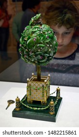 Saint Petersburg, RUSSIA- JULY, 7: Faberge Museum exhibits in Saint Petersburg on July 7, 2019. The Faberge Museum has an impressive collection created by Fabergé for the last two Russian tsars.